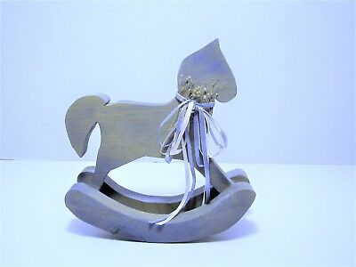 "Handmade Wooden ROCKING HORSE Primitive Shabby Chic Pale Blue Wash - 8"" x 8"""