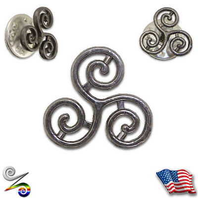 Triskele Triskelion Pagan Celtic Witch Tribal Viking Men Lapel Hat Neck Tie Pin