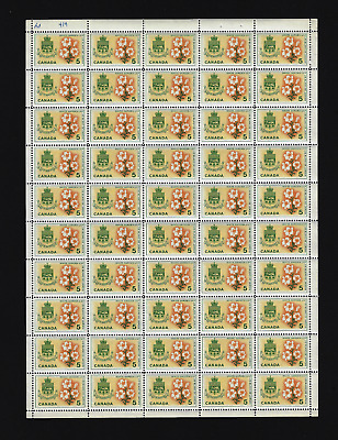 Canada Stamps — Full Pane of 50 — 1964, Floral Emblems: Quebec #419 — MNH