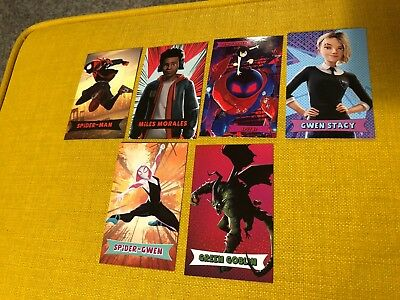 SPIDER-MAN INTO THE SPIDER-VERSE cards amc theaters trading 6 cards