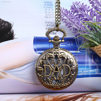 D6F0 Vintage Bronze DAD Hollow Quartz Pocket Watch Analog Pendant Necklace Gift