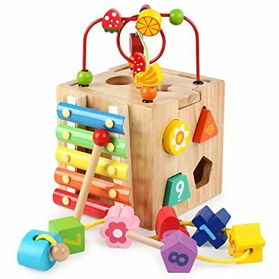 Baby Activity Cube Centers Toys Bead Maze Shape Sorter Xylophone for Toddlers