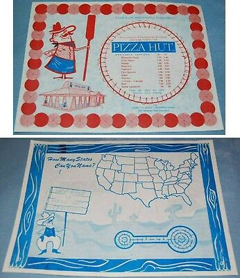 [ 1970s PIZZA HUT Paper Placemat with Pete - Pizza Man Mascot !]
