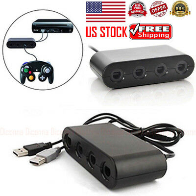 US 4 Port Gamecube NGC Controller Adapter For Nintendo Wii U & Switch and PC USB