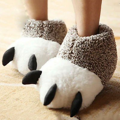 70c72f96aeb Strange Men Women Animal Monster Feet Slippers Claw Bear Paw Plush Shoes  4442