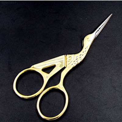 B3E0 Vintage Stainless Steel Gold Stork Embroidery Craft Scissors Cutter Home
