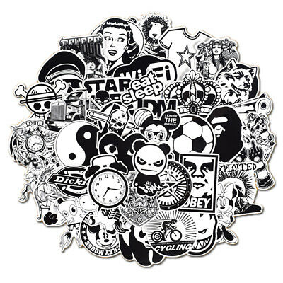 Mix Lot 50Pcs Black White Stickers Skateboard Graffiti Laptop Luggage Car Decal