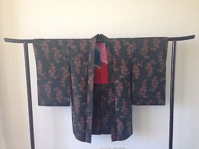 Japanese Vintage Woven Silk Haori Jacket Kimono Costume One of a Kind Hand Made