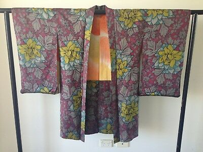 SALE Floral Japanese Vintage Silk Haori Hand Made One of a Kind Costume Kimono