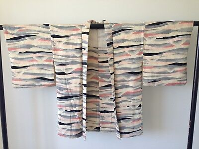 Japanese Vintage Woven Silk Haori Jacket Costume Hand Made One of a Kind