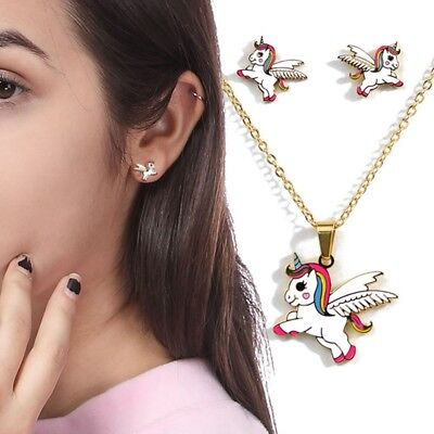Childrens Girls Kids Cute Unicorn Necklace and Earring Set Brand New
