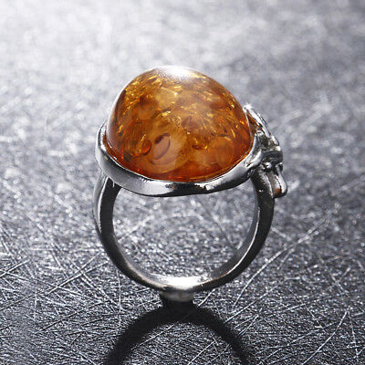 Vintage Women Baltic Antique Silver Ring Jewelry Amber Color Size 6-10 Gift