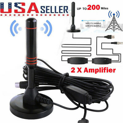 Antenna TV Digital HD 200 Mile Range Skywire Indoor 4K 1080P 16ft Coax Cable US