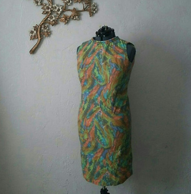 23beead56bb5 Vintage Stacy Ames 1960s Shift Dress Watercolor Feathers Size M   L
