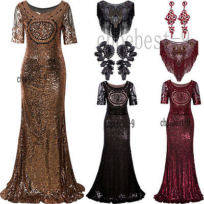 Long Prom Dresses Wedding Formal Occasion Evening Gown Lace Sequins Bridal Dress