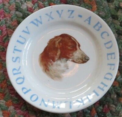 Child's alphabet plate foxhound early 1900s West End Pottery