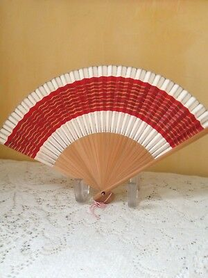 Vintage JAPANESE FOLDING HAND FAN Bamboo and Paper 1950's Japan RED on Cream