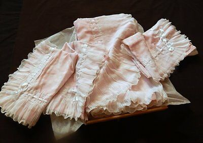 French Boudoir Frou-Frou Meets Hollywood Glamour Huge Sheet 2 Cases Vintage