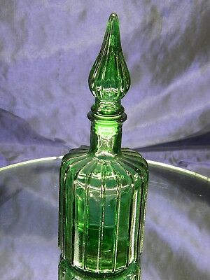 Emerald Green Glass Small Ribbed Pressed Glass Decanter with Stopper