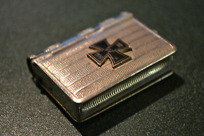 Rare Imperial German Wwi Nickel Silver Snuff Box With 1914 Iron Cross