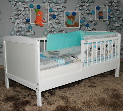 JUNIOR TODDLER BED WHITE 120x60cm + MINKY BEDDING + OPTONAL MATTRESS 8 COLOURS