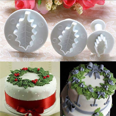 Cake Decorating Tools Xmas Holly Leaf Plunger Cutters Fondant Cookie Mold Mould