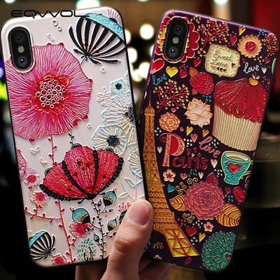 3D Emboss Cartoon Patterned Phone Case For iPhone XS 8 7 6S Soft Silicone Cover