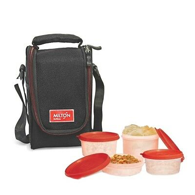 Milton Compact Lunch Bag with 4 Soft Insulated Meal Prep Box For Men Women Black