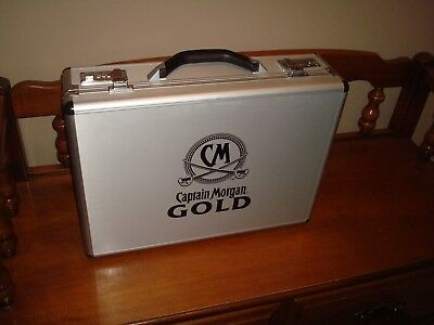 Rare Authentic CAPTAIN MORGAN GOLD TAILGATE BRIEFCASE KIT LOADED ~Brand New L@@K
