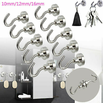 1-100Pcs Heavy Duty Magnet Hook Rare Earth Neodymium Magnetic Hanger Holder Tool