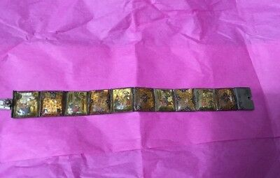 Antique Asian Painted Mother Of Pearl Story Bracelet .800 Silver Rare Unique