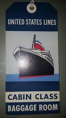Vintage United States Lines Cruise Ship Luggage Tag Cabin Class Baggage Room