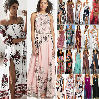 Damen Maxikleid Sommer Boho Lange Party Abendkleid Strandkleid Cocktail Holiday