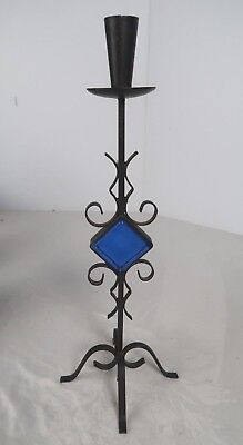Mid Century Wrought Iron Candle Stick with Blue Glass Square Danish Style