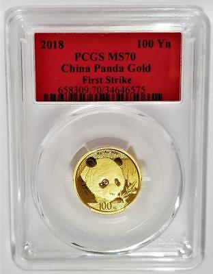 2018 100 Yuan China Panda 8 grams (0.26 oz) .999 Gold PCGS MS 70 - FIRST STRIKE