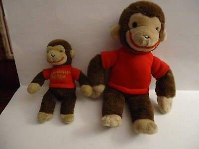 TWO Vintage Curious George  Plush Animals by GUND.  1990 &1992.  9 &13 Inches