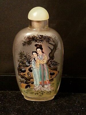 "Vtg Inside Painted Frosted Glass Chinese Snuff Opium Bottle Jade Stopper 3.25""h"