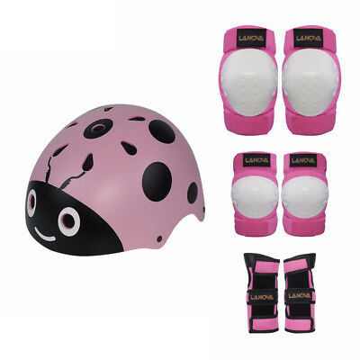 7pcs Kids Protective Gear Knee Pads Wrist Guards Bicycle Helmet for Skating Cycl