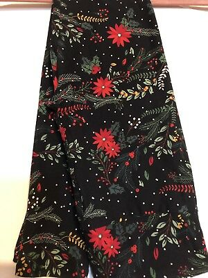ba87d7cfbdc90 Merry & Bright LuLaRoe Holiday Leggings Winter Red Holly Poinsettia Floral  OS