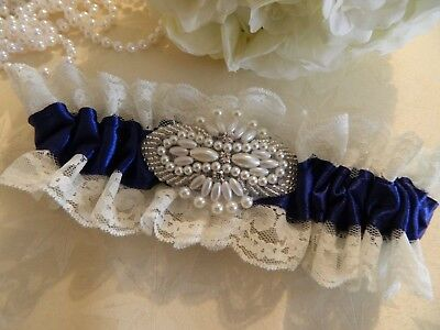 Wedding Garter Royal Blue Satin  - Beaded Ivory Motif-Free Pouch