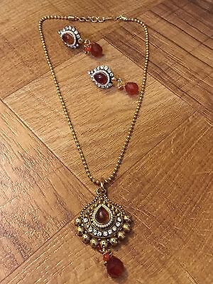 Indian Ethnic Antique Gold Finish Pearl Moti Orange Jewelry Pendant Earring Set