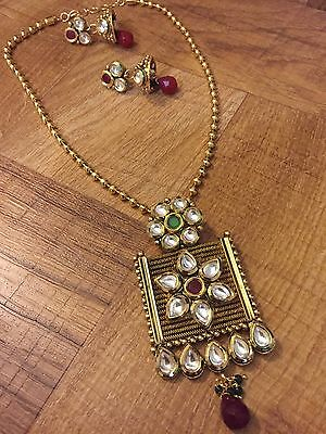 Indian Pakistani Ethnic Antique Gold Finish Kundan Jewelry Pendant Necklace Set