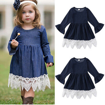 Kids Baby Girl Denim Lace Dress Children Girls Long Sleeve Party Tutu Dresses