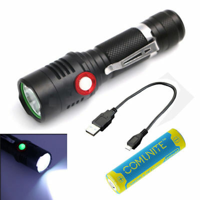 1200LM CREE XM-L2 LED USB Rechargeable 18650 Flashlight Torch + 3200mAh Battery