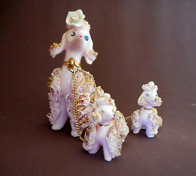 PINK POODLES Vintage Figurines SPAGHETTI with Gold Trim Porcelain 885R Puppies