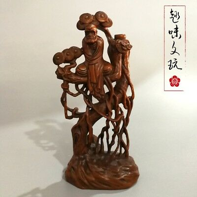Chinese old boxwood carving Buddha Rattan tree Exquisite statue home decoration