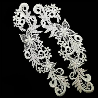 1 Pair Applique Lace Trim Embroidery Sewing Motif DIY Wedding Bridal Craft
