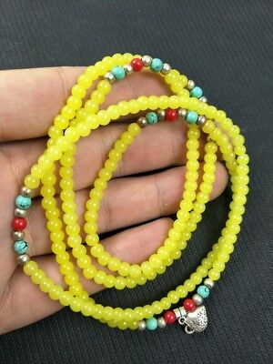 Exquisite hand-made yellow agate beads necklace Bracelet