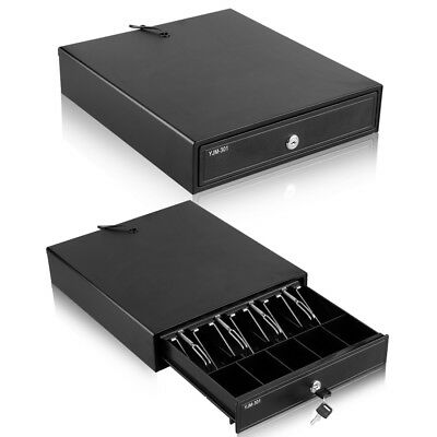 Heavy Duty Cash Drawer Electric Register Till Box POS 4 Bills 5 Coins Tray RJ11