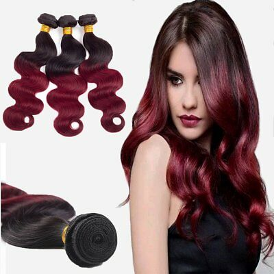 7A 1Tissage bresilien cheveux humains peruviens ombre remy 2 tons body wave 50g